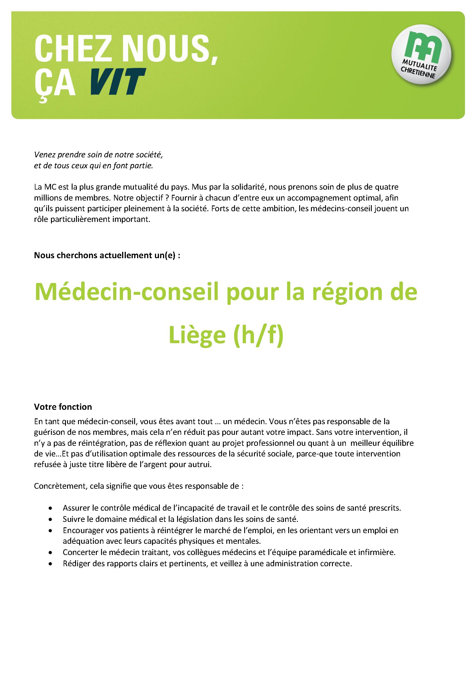 offre d'emploi MC Liège 1