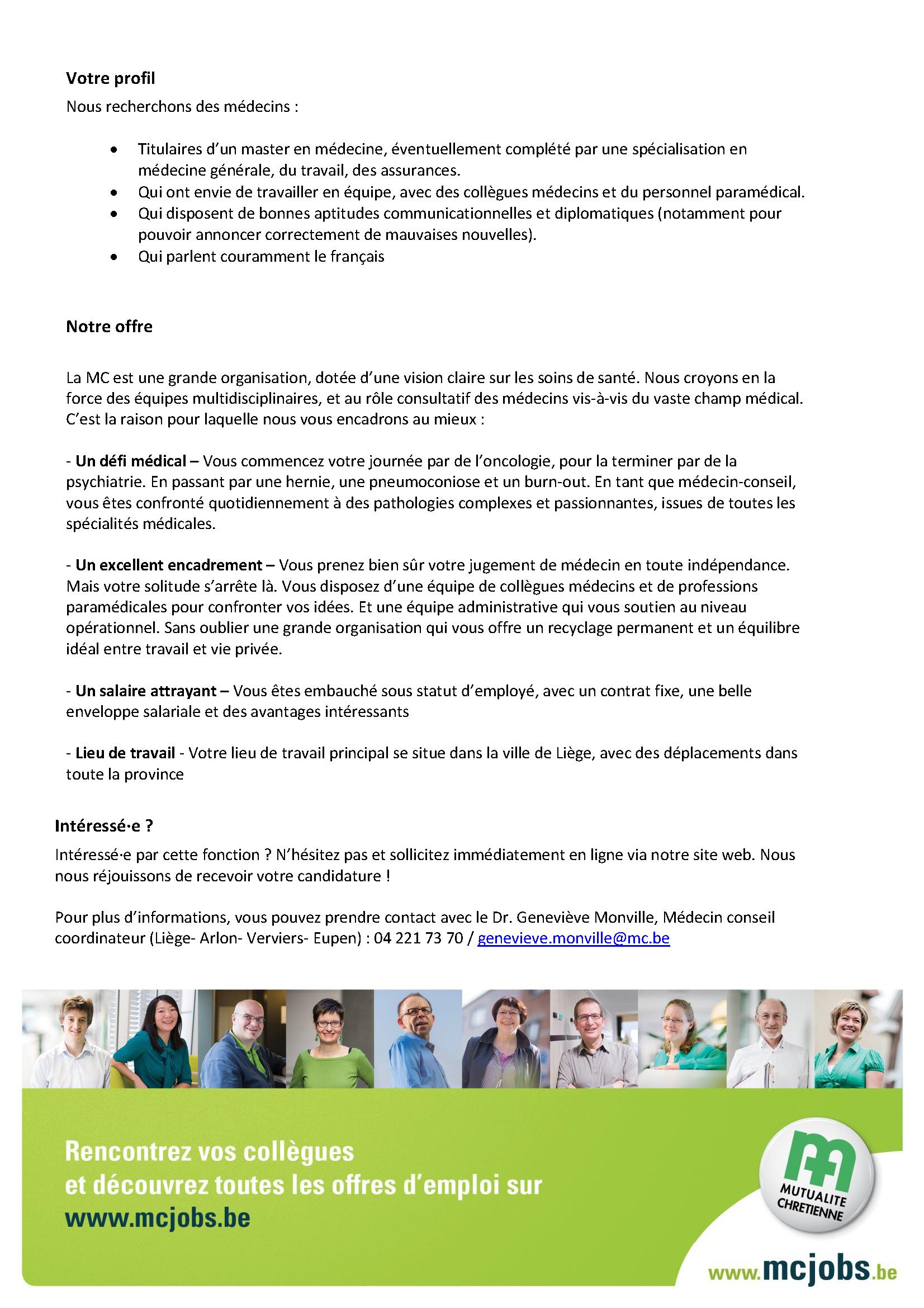 Offre d'emploi MC Liège 2
